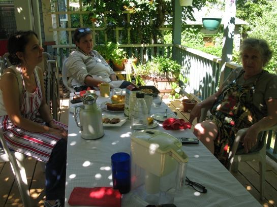 On sunny days, we had lunch out on the deck. So.much.food. #coffee