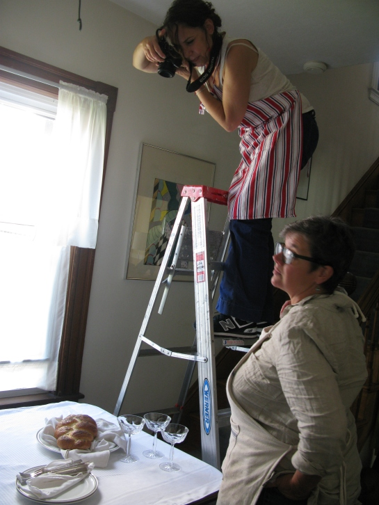 One of the few shots not done in the kitchen. Sonya on ladder with Catrine. Photo by Melanie McLaughlin